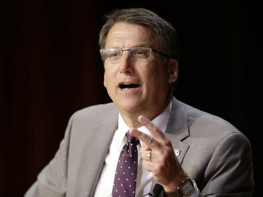 Former Gov. Pat McCrory makes remarks concerning House Bill 2 while speaking during a government affairs conference in Raleigh in 2016.