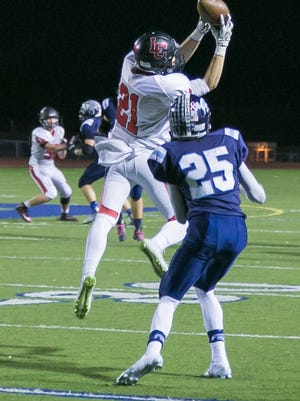 Churchill's Jacob Chantres is pictured intercepting a pass during the Chargers' 40-34 victory over Stevenson.