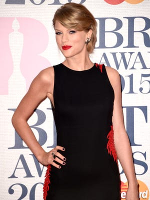Taylor Swift attends the BRIT Awards 2015 at The O2 Arena on February 25, 2015 in London, England.