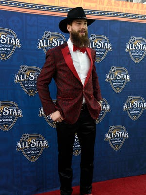 San Jose Sharks Brent Burns arrives on the red carpet for the NHL All-Star skills competition Saturday.
