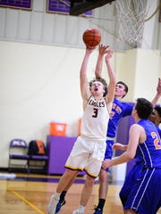 Looking to score a layup Tuesday is PCA's Levi Yakuber