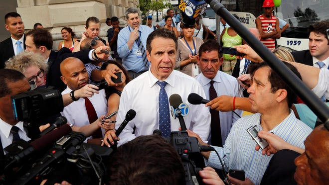 New York Gov. Andrew Cuomo speaks to reporters Monday in Havana, Cuba.
