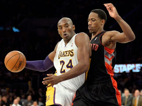 Lakers guard Kobe Bryant was outplayed by Raptors guard DeMar DeRozan in his return to action Sunday.