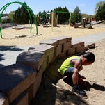 The sun heats up the new playground equipment on Thursday at Foothills Park.