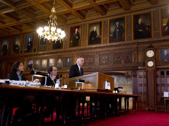 Attorneys argue at the New York State Court of Appeals on Thursday, March 24, 2016, in Albany, N.Y. (AP Photo/Mike Groll)