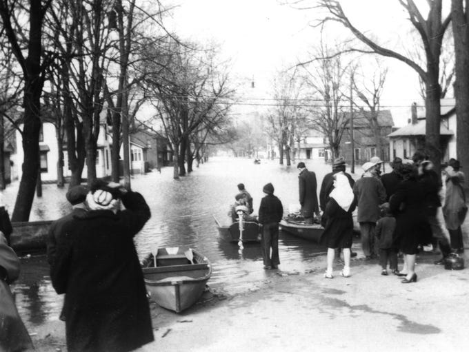 People had to use boats to get to their houses during