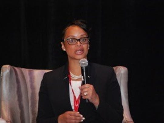 Deputy Chief Danielle Outlaw of the Oakland Police Department speaks at the Bridge Summit.