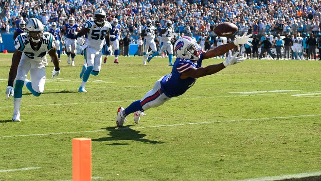 Sep 17, 2017; Charlotte, NC, USA; Buffalo Bills wide receiver Zay Jones (11) can't bring in a catch on 4th down in the last few seconds of the 4th quarter. The Panthers defeated the Bills 9-3 at Bank of America Stadium. Mandatory Credit: Bob Donnan-USA TODAY Sports
