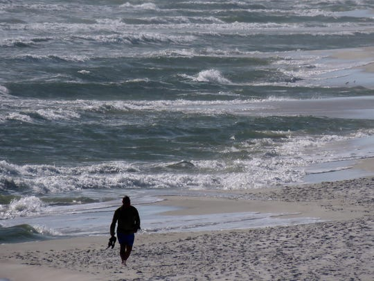 Rip currents such as those in this January photo of the Pensacola Beach shoreline are the No. 1 danger for swimmers, according to Santa Rosa Island Public Safety Director Bob West.