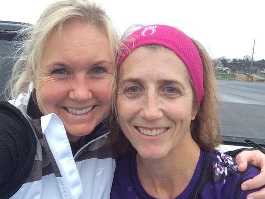 Chambersburg's Laurie Dymond (right) and Waynesboro's