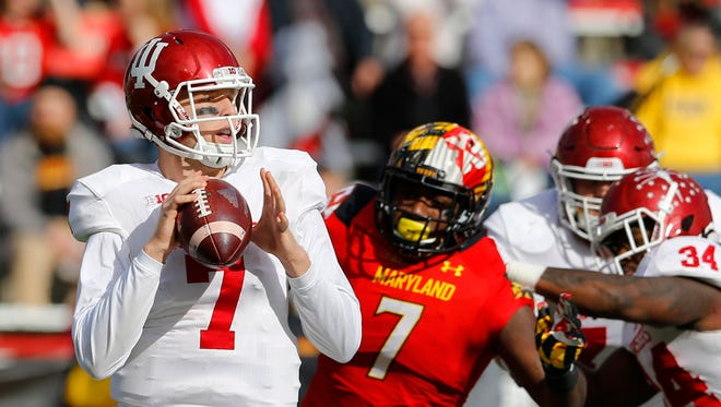 Indiana quarterback Nate Sudfeld looks for a receiver in the first half.