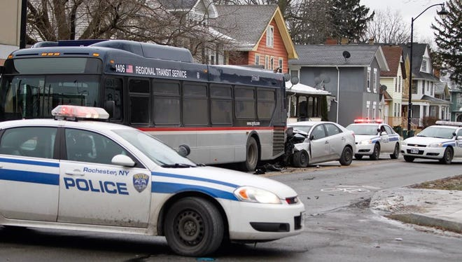 The scene of a crash on Plymouth Avenue and Magnolia Street in Rochester on Friday.