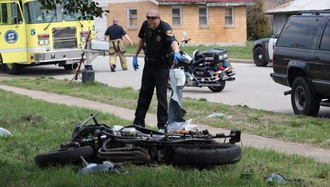 Scene of motorcycle crash