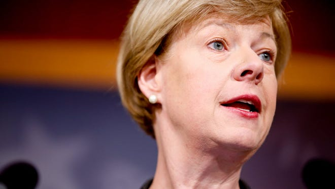 In the March 25, 2015 file photo, Sen. Tammy Baldwin speaks at a news conference in Washington. A former state director for Baldwin has filed an ethics complaint against the Wisconsin Democrat saying she placed blame about problems at a Department of Veterans Affairs medical center on her.