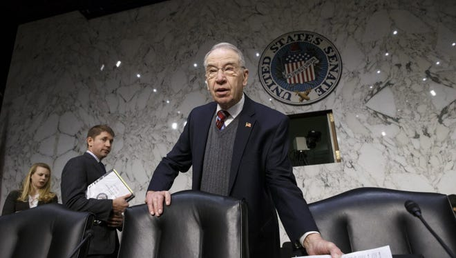 In this Jan. 29, 2015 file photo, Senate Judiciary Committee Chairman Sen. Charles Grassley, R-Iowa is seen on Capitol Hill in Washington.