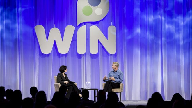 EBay CEO John Donahoe is interviewed at the company's recent Women's Initiative Network, which helps promote women within the tech company, which released its latest diversity numbers.