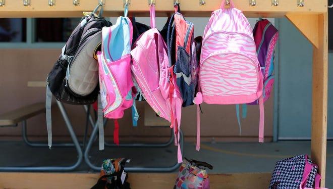 Kindergartener's backpacks at Benjamin Franklin Elementary on Wednesday in La Quinta.