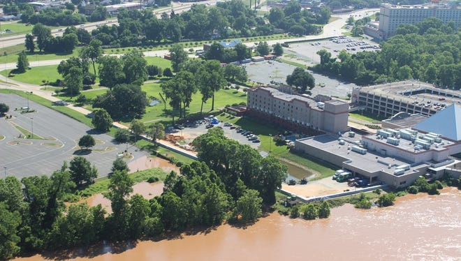 Aerial photos shot Tuesday morning (June 2, 2015) by Sgt. Dave Faulk of the Bossier SheriffÕs Office.  The Red River is now more than a foot higher than when he shot these photos, but these images of various locations along the Red are rather amazing.