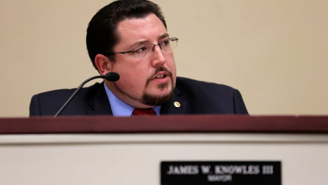 Mayor James Knowles III at a monthly meeting of the council Tuesday, April 21, 2015, in Ferguson, Mo. Activists faced a Friday deadline to gather enough signatures from registered voters to spur a recall of Knowles.