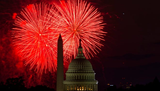 Fireworks over the U.S. Capitol and the Washington Monument during Fourth of July celebrations last year.