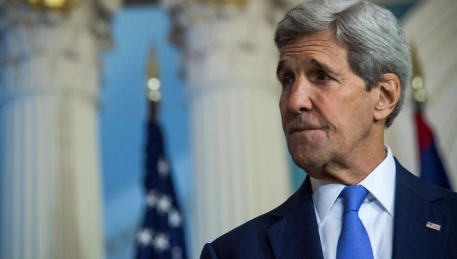 U.S. Secretary of State John Kerry speaks to the press at the State Department in Washington, DC, on September 17, 2015. He met Thursday with U.S. airline executives to discuss allegations that three Middle East carriers get unfair subsidies from their governments.