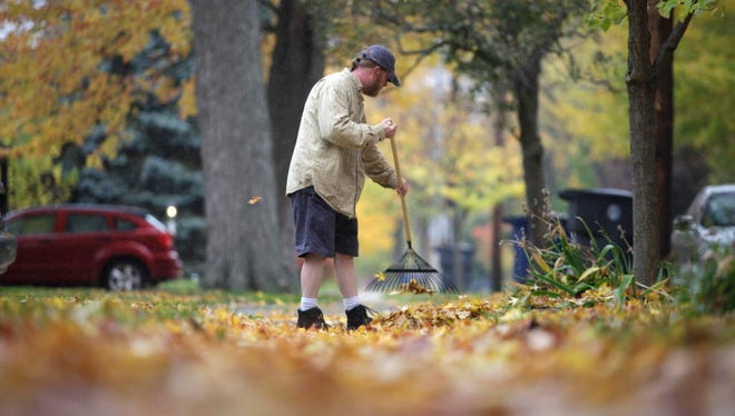 Neal Smith rakes leaves, Tuesday, Oct. 28, 2014, along a street in Bowling Green, Ohio.