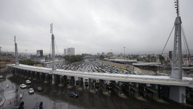 Cars wait to cross from Tijuana, Mexico, into San Diego in 2014.