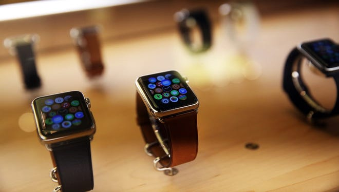 New models of the Apple are viewed in an Apple store on September 10, 2015 in New York City. The Cupertino, California based tech company unveiled new bands and two new finishes for the Apple Watch today.