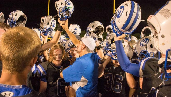 Erath players celebrate after win.