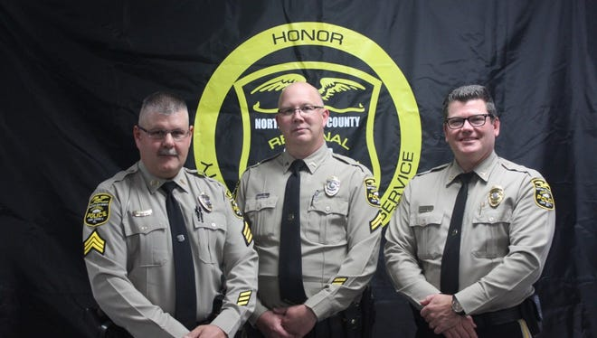 Northern Regional Sgt. Jack Asper, Cpl. Chris Irwin, Chief Mark Bentzel pose for a picture.