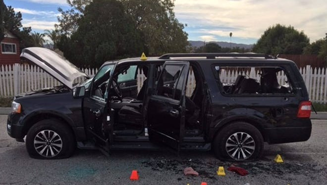 The SUV that Syed Farook and his wife were driving when they got into the deadly shootout with police officers.