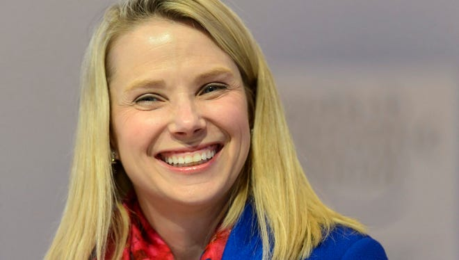 A file picture dated 22 January 2015 of Marissa Mayer, Chief Executive Officer of Yahoo, during a panel session of the 45th Annual Meeting of the World Economic Forum (WEF)  in Davos, Switzerland. In a blogpost, Yahoo CEO Mayer on 01 September 2015 announced she was pregnant and expecting identical twins likely to be delivered in December 2015.  EPA/LAURENT GILLIERON *** Local Caption *** 51753591 ORG XMIT: GIL46