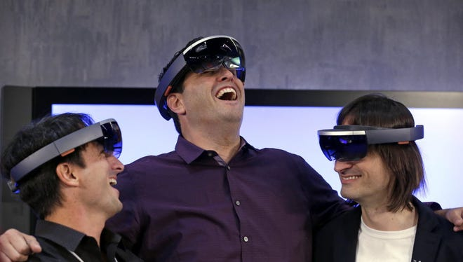Microsoft executives gathered to show off the company's HoloLens, a venture into augmented reality goggles that is expected to be one of the VR/AR stars of 2016.