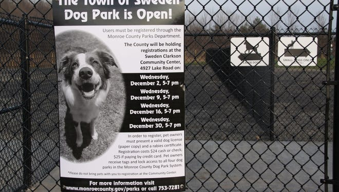 The entrance of the new dog park at the Sweden Town Park. It opened on Nov. 26 and is the fourth public dog park in Monroe County.
