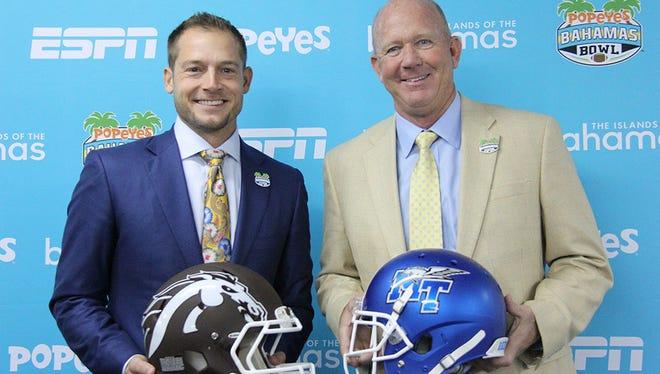 Western Michigan head coach P.J. Fleck (left) and MTSU head coach Rick Stockstill at the Popeyes Bahamas Bowl press conference on Friday.