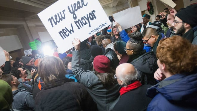 Demonstrators calling the resignation of Chicago Mayor Rahm Emanuel protest outside the Mayor's office inside City Hall on December 31, 2015 in Chicago, Illinois. The shooting deaths by police of a 19-year-old college student Quintonio LeGrier and his 55-year-old neighbor Bettie Jones and a recently released video showing the shooting of 17-year-old Laquan McDonald by Chicago Police officer Jason Van Dyke have sparked dozens of protests in the city.