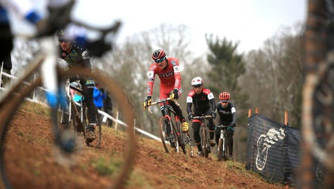 Braden Kappius of Boulder, CO competes in the Men's Elite division at the USA Cycling Cyclo-Cross Nationals, held Sunday afternoon at the Biltmore Estate.  The men's race was 60 minutes long.