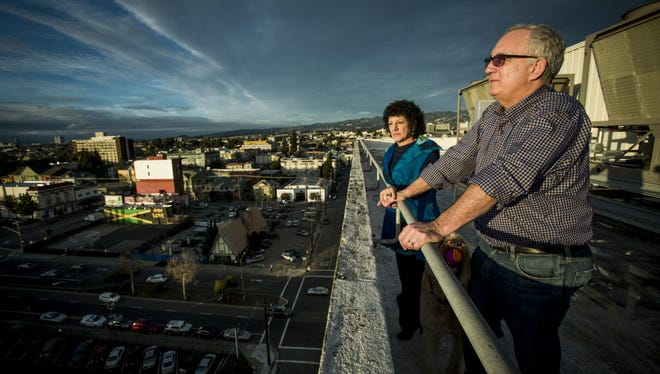 Freada Kapor Klein with her husband Mitch Kapor on the roof of their downtown Oakland, Calif., offices.