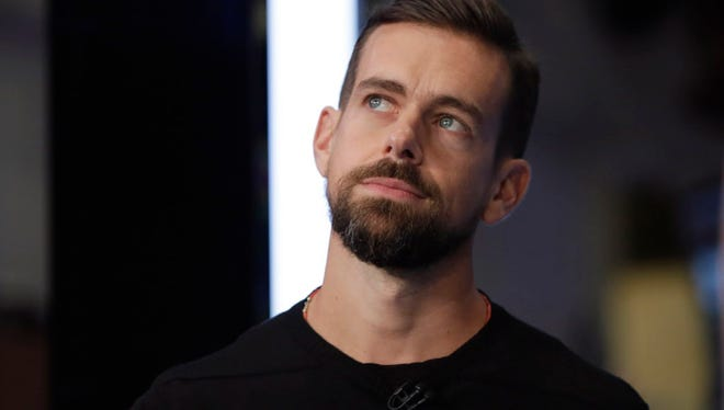 Square CEO Jack Dorsey, who also is CEO of Twitter, is interviewed on the floor of the New York Stock Exchange, Thursday, Nov. 19, 2015.