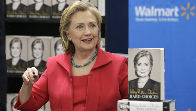 Hillary Clinton at a Wal-Mart store in Little Rock in 2014.