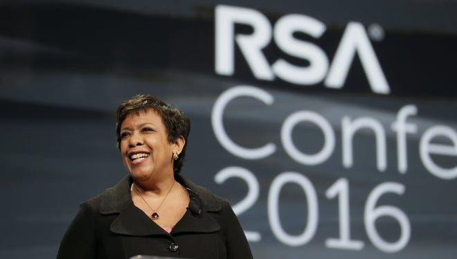 U.S. Attorney General Loretta Lynch delivers remarks during a keynote address to the RSA Conference Tuesday, March 1, 2016, in San Francisco.