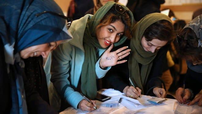 Iranians vote in Tehran on Feb. 29, 2016.