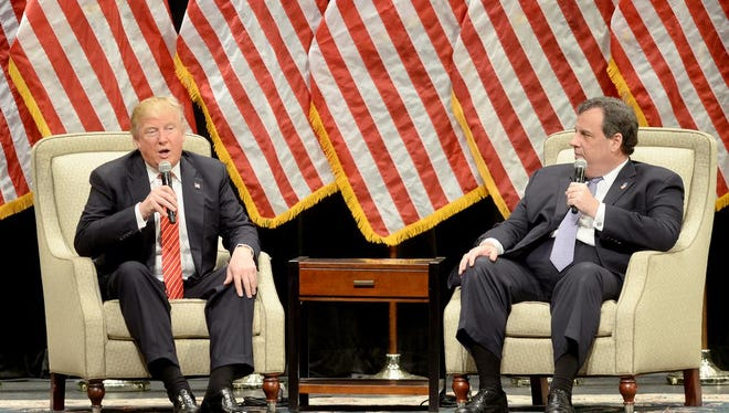Republican presidential candidate Donald Trump answers questions from New Jersey Governor Chris Christie in a town-hall style rally at Lenoir-Rhyne University on Monday, March 14, 2016.