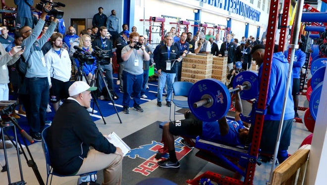 West Monroe's Paul Turner goes through the bench press during Louisiana Tech's Pro Day on Tuesday at Joe Aillet Stadium.