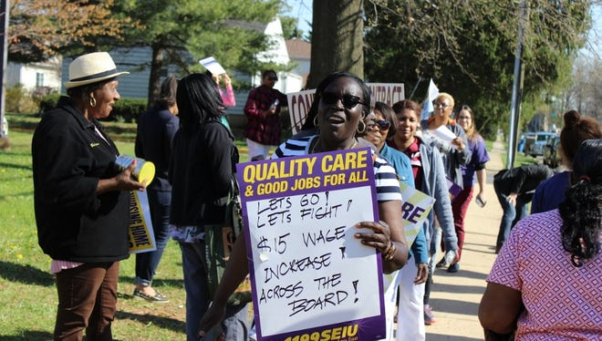 Earlier this year, nursing home workers who are members of 1199SEIU picket at Aristacare at Cedar Oaks in South Plainfield.