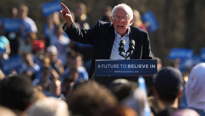 Bernie Sanders campaigns in New York on April 17, 2016.