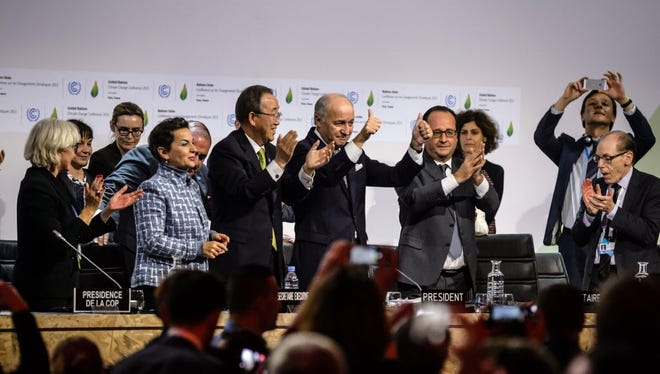 Climate change negotiators in Paris in December.