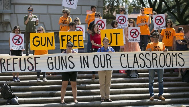 Protestors against a new law allowing concealed carry on Texas college campuses, University of Texas, Austin, Oct. 1, 2015.