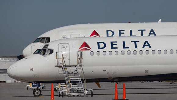 Delta Air Lines jets at the company's Atlanta hub on