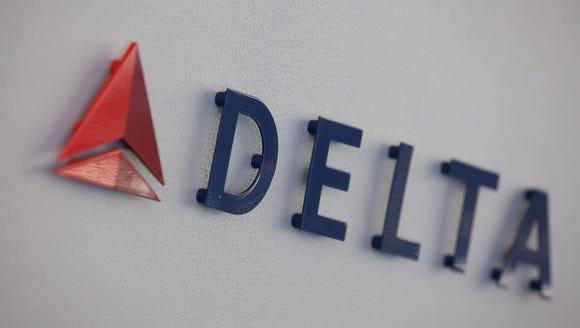 Delta Air Lines' logo, seen inside an Airbus A330 long-haul